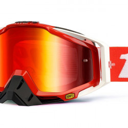 LUNETTES MASQUE CROSS 100% RACECRAFT FIRE RED ECRAN MIROIR ROUGE