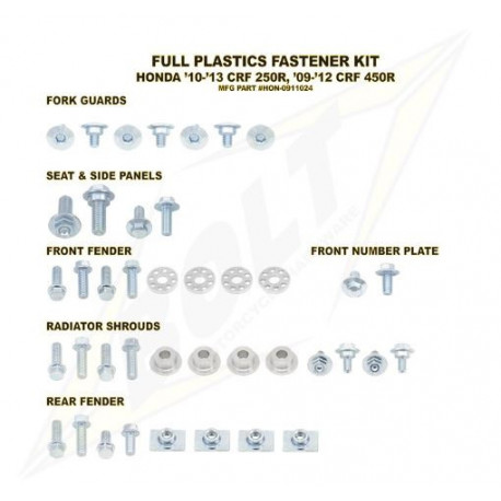 Kit vis complet de plastiques Bolt Honda CRF 450 2009-12