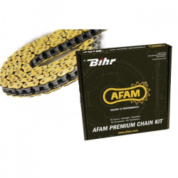 Chaine de transmission AFAM 520 XSR Xs-RING Or et attache à riveter axe creux