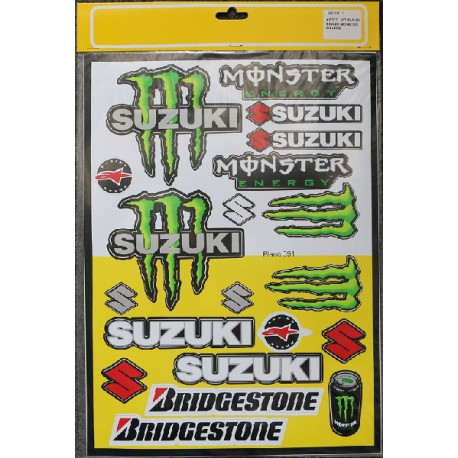 PLANCHE 40cm X 29cm STICKERS AUTOCOLLANT SUZUKI MONSTER