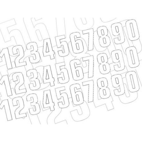 NUMERO DE COURSE BLANC BLACKBIRD - JEU DE 3 NUMEROS 16X7,5cm