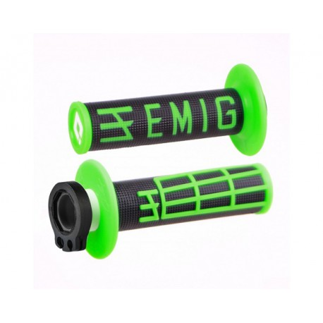 POIGNEES LOCK-ON-ODI EMIG VERSION FLUO V2 NOIR VERT SEMI-GAUFRE 2 TEMPS