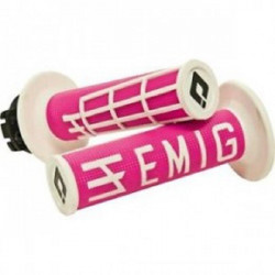 POIGNEES LOCK-ON-ODI EMIG V2 ROSE BLANC SEMI-GAUFRE 4 TEMPS